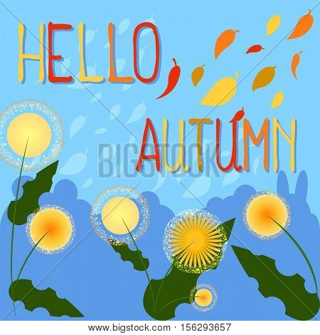Hello autumn vector background with place for text. Yellow flower Rudbeckia. Falling leaves in yellow red orange brown colors. Fall seasonal illustration with floral decor. Mid-autumn festival