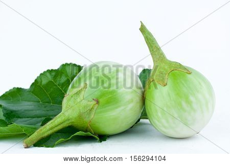 eggplant or Yellow berried nightshade and leaf  on white background thai eggplant aubergine  vegetable isolated