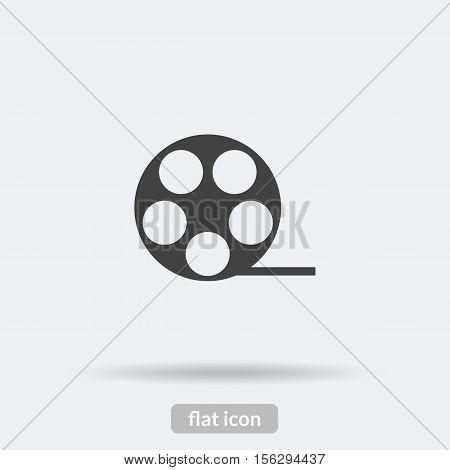 Film Reel Icon, Black Vector Is Type Eps10