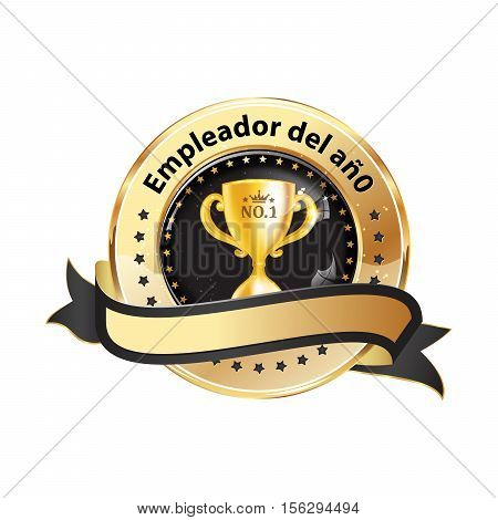 Best Employer of the year (Spanish language: Empleador del ano) - business elegant icon / ribbon award distinction for companies.