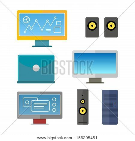 Set of computer peripherals illustration in flat style. Monitor, laptop, computer, column speaker illustration for  technological concept, web, app, icons, logo design. Isolated on white background.