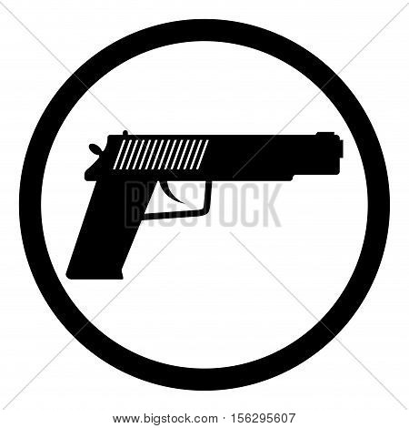 Pistol icon black. Gun silhouette for military or police pistol vector illustration