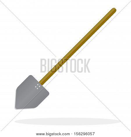 Shovel flat design. Snow shovel icon and digging sign vector illustration