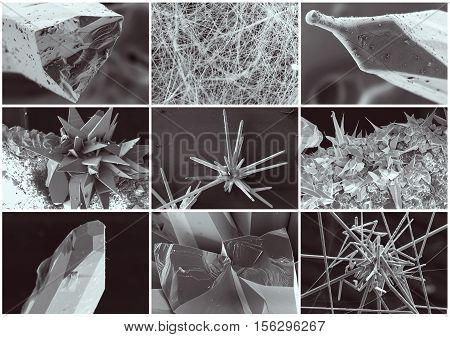 Nanotechnology collage. Crystal and whisker in microscope. Crystallization or solidification process view through the electron microscope with multiple increase in zoom in