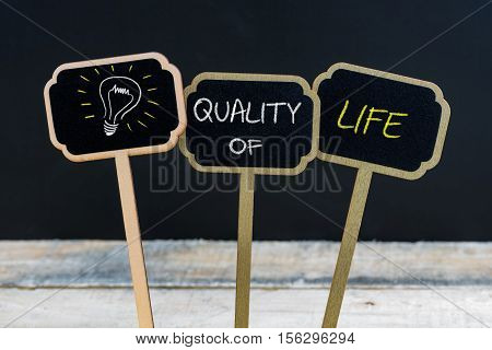 Concept Message Quality Of Life And Light Bulb As Symbol For Idea