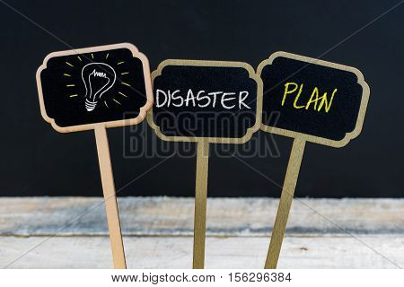 Concept Message Disaster Plan And Light Bulb As Symbol For Idea