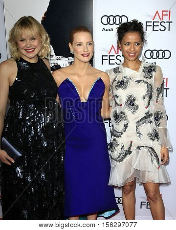 LOS ANGELES - NOV 11:  Alison Pill, Jessica Chastain, Gugu Mbatha-Raw at the