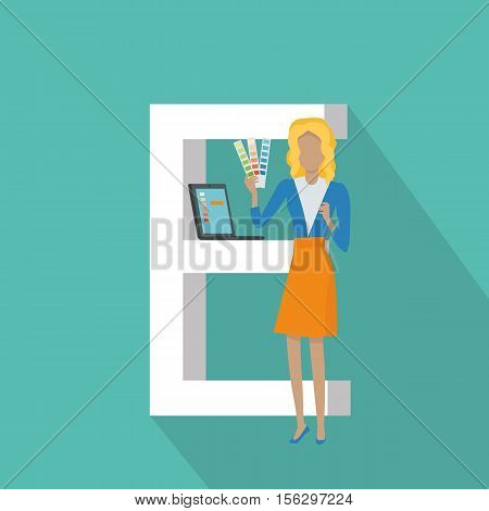 Gadget alphabet. Letter - E. Woman with laptop standing near letter. Modern youth with electronic gadgets. Social media network connection. Simple colored letter and people with electronic devices