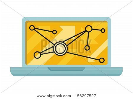 Laptop with infographics on screen. Laptop flat icon. Concept of online business, commerce algorithm, statistics, business analysis, information. Isolated object on white background. Illustration.