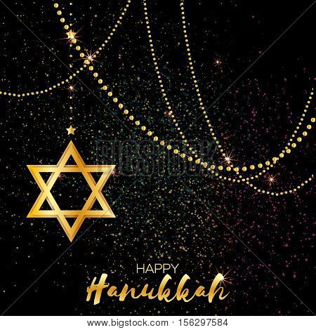 Origami golden Star of David. Happy Hanukkah. Shining papercraft metal foil stars. Greeting card for the Jewish holiday on black background with colorful confetti and garland. Vector illustration.