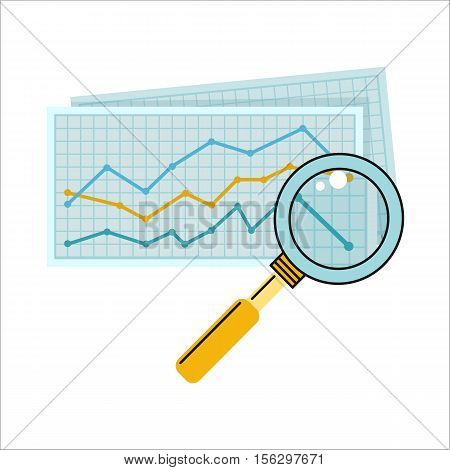 Magnifier with colour diagram on squared paper. Diagram icon. Concept of online business, commerce statistics, business analysis, information. Isolated object on white background. Vector illustration.