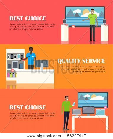 Best choice. Banner of shop specialized on selling electronic equipment. Mobile phones, display devices laptops gadgets smartphones computers. Sale of digital units. Shop assistant offers help. Vector