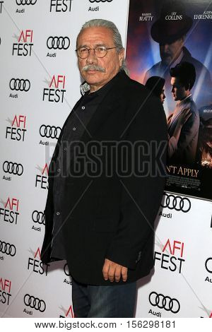 LOS ANGELES - NOV 10:  Edward James Olmos at the AFI FEST 2016 - Opening Night - Premiere Of 20th Century Fox's 'Rules Don't Apply' at TCL Chinese Theater on November 10, 2016 in Los Angeles, CA