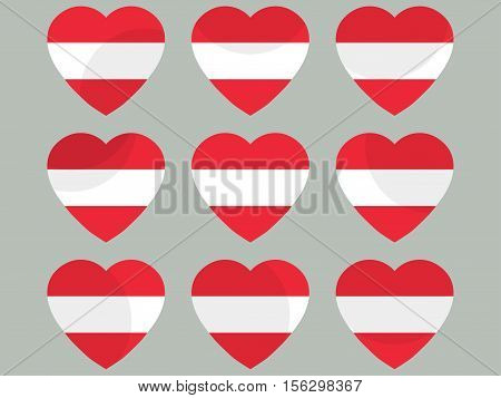 Hearts With The Austria Flag. I Love The Austria. Austria Flag Icon Set. Vector Illustration.
