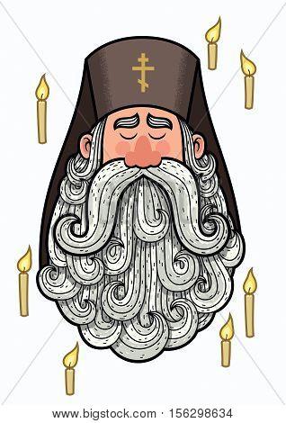 Cartoon portrait of orthodox priest with big beard.