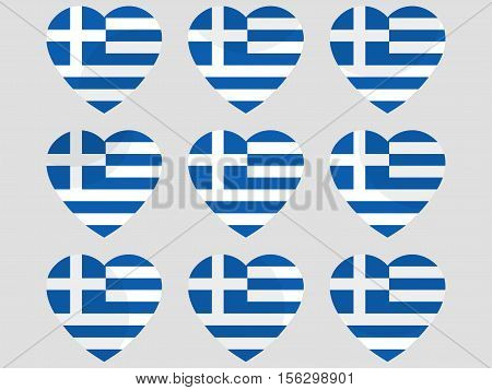 Hearts With The Greece Flag. I Love The Greece. Greece Flag Icon Set. Vector Illustration.