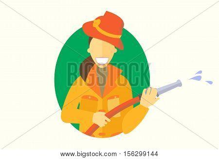 Woman holding firehose icon vector flat design girl do men's work concept