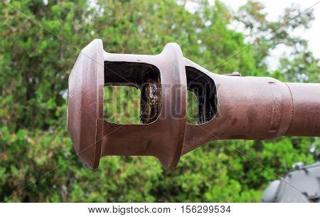 Closeup Of A Muzzle Brake - Cannon Barrel.