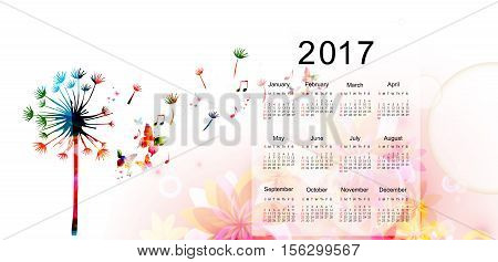 Calendar planner 2017 design template with colorful dandellion. Calendar poster, week starts Sunday. Calendar organizer. Calendar isolated, vector illustration background. Monthly calendar layout