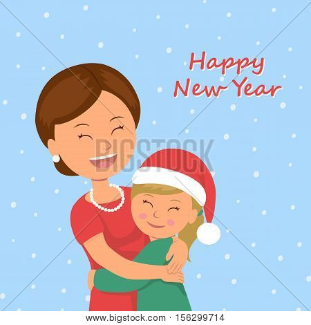 Mom hugs her daughter. Child congratulates his mother Happy New Year. Happy family cuddling in celebration of Christmas Holiday. Vector Illustration in flat style.