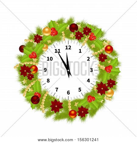 Christmas Watch Decorated With Branches of Christmas tree, balls, flowers and hollyberries Showing the Christmas Time Isolated on White Background. Vector Illustration