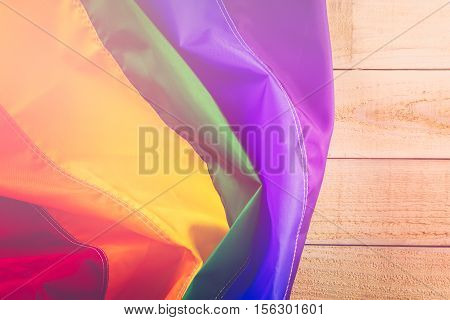 Rainbow colorful bright Gay Pride flag background.