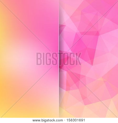 Background Made Of Pink, Yellow Triangles. Square Composition With Geometric Shapes And Blur Element