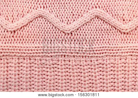 Pink knitted naturel texture with geometric waves