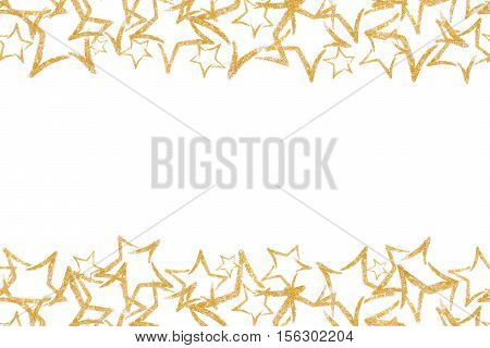 Photo scattered sequins in the shape of a star. Seamless border with gold glitter star. Sequins. Golden shine. Powder. Glitter. Shining symbol.