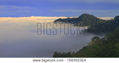 sea of fog with forests as foreground. This place is in the Kaeng Krachan national park Thailand
