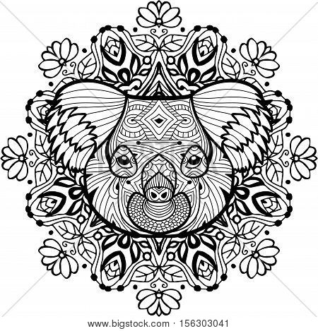 The head of the Koala on the background of ethnic patterns. Totem coloring page for adults. Monochrome hand-drawn ink drawing. Line art design.