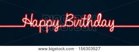 Happy Birthday Banner Neon Style