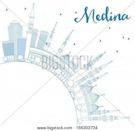 Outline Medina Skyline with Blue Buildings and Copy Space. Vector Illustration. Business Travel and Tourism Concept with Historic Architecture. Image for Presentation Banner Placard and Web Site.