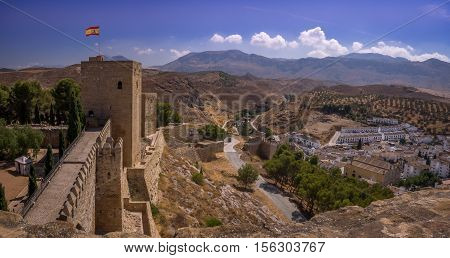 A view of the castle at the Spanish town of Antequera