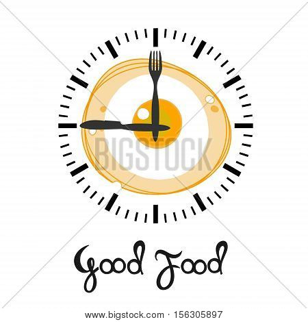 Fried egg isolated on the background of the watch dial. Closeup of a Fried egg. Scrambled egg. Egg breakfast.