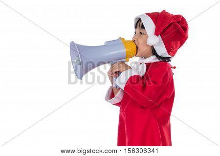 Asian Chinese Little Santa Girl Holding Loudspeaker Shouting