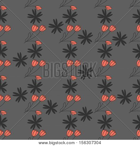 Mourning pattern with tulip on a grey background.