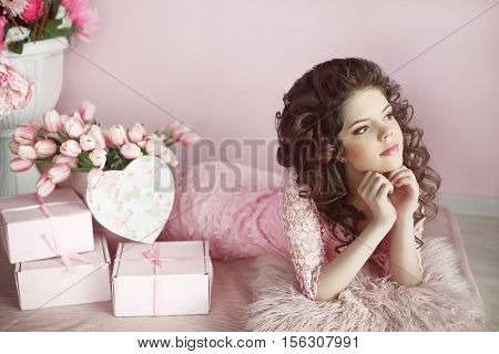 Beautiful Teen Girl Dreaming With Curly Hair, Beauty Portrait, Romantic Surprise. Brunette In Pink D