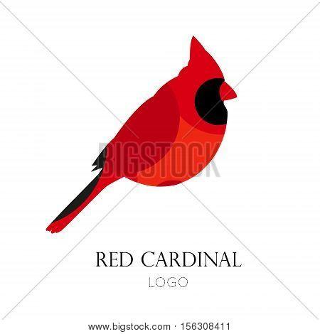 Red cardinal vector icon. Logo. Flat design.
