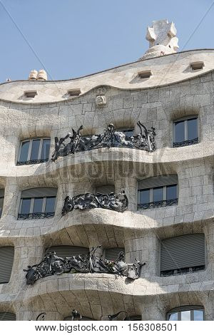 BARCELONA, SPAIN - JULY 12, 2016: Barcelona (Catalunya Spain): house Mila or Pedrera famous building by Gaudi along the Paseig de Gracia