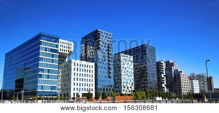 Panoramic View Of Modern buildings in Oslo Norway