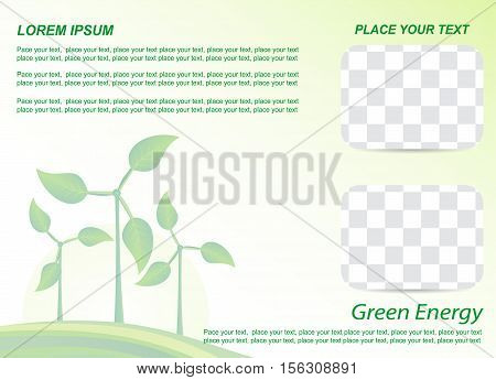Brochure or cover design. Wind generator green energy.