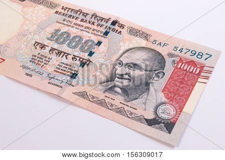 Back Side Of India Banknote. India Rupee 1000 Banknote Declared Illegal. 1000 Rupee Note Banned. Can