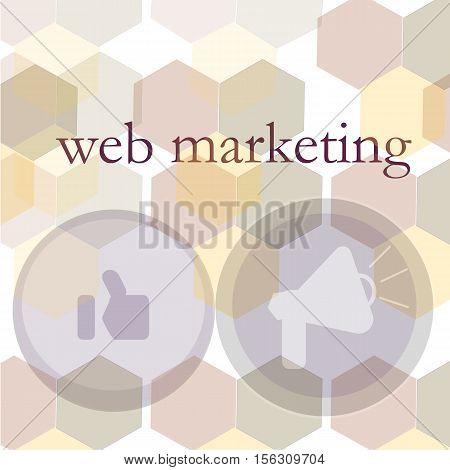 Banner for web design, seo, social media and pay per click internet advertising. Web marketing, vector