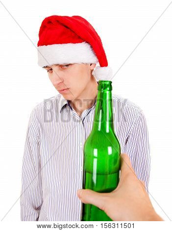 Hesitant Young Man with a Beer Isolated on the White Background