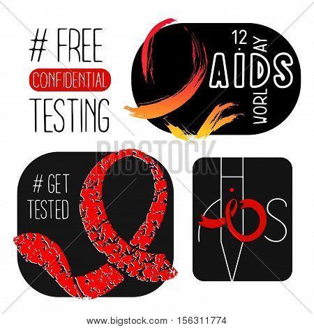 World AIDS day 1 December posters. Awareness red ribbon. Isolated vector banners. HIV test symbol.'Free confidential testing'.'Get Tested'