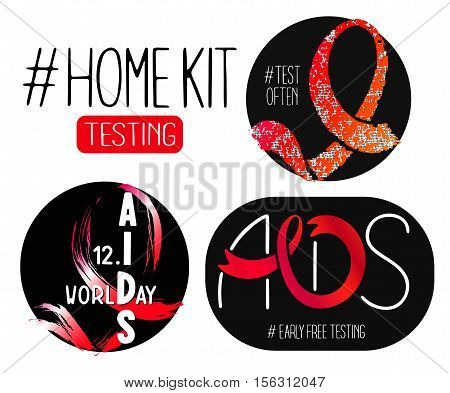 World AIDS day 1 December posters. Awareness red ribbons. Isolated vector banner. HIV test symbol.'Home Kit Testing'.'National Testing'