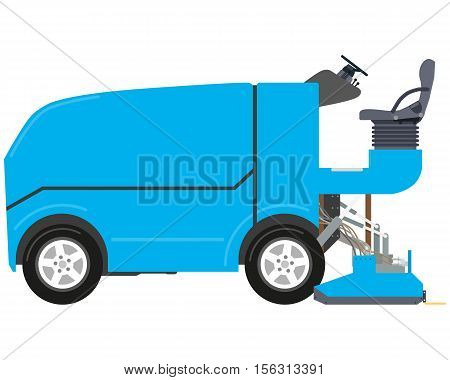Blue modern cleaner for ice rink and stadium on white isolated white background. Vector illustration