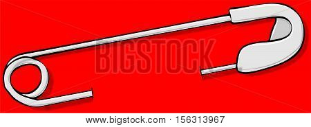 Illustration of a steel safety pin in a red colored background.