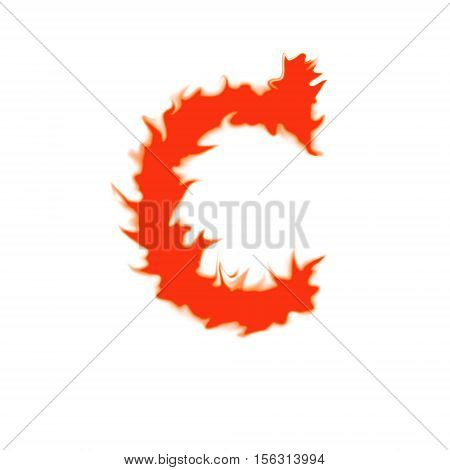 Fire letter C isolated on white background